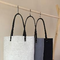 Simple linen tote in Mixed Natural, Asphalt, and Black.
