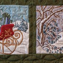This is a close up of two scene blocks. Lots of linen and scraps from men's ties.