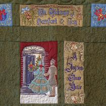 Hopefully you can see the details of the quilting on the green linen.