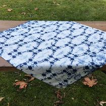 ILO 19 linen furoshiki (Japanese style wrapping/carrying cloth) shibori tied and dyed in organic...
