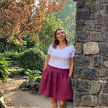 Apparel- Twig and Tale Meadow Skirt made with Wild Cherry middle weight linen.  This skirt featu...