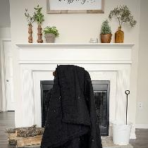 Black linen throw blanket with bold mustard hand stitched quilting. This blanket has a lovely, v...