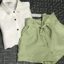 Apparel  These high waisted zipper shorts were created out of the lovely pistachio linen. I sew...