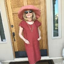Easy to dress up or down and accessorize red linen dress using Lisette pattern B6169.  Sincerely...