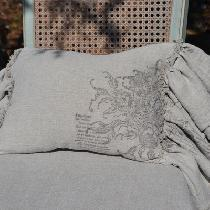 Lumbar Pillow made with 4C22 Natural Linen. Double Ruffle with raw edges. Stamped with IOD Rose...