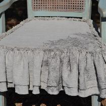 Chair Slipcover made with 4C22 Natural Linen with double raw edge ruffle. Stamped with IOD Rose...