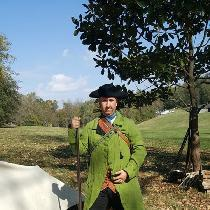 Revolutionary War gentleman's frock coat I made of green linen from Fabric Store and men's waist...