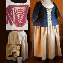 Deeply researched accurate reproduction1760s ensemble worn for educational programs.  ALL linen...