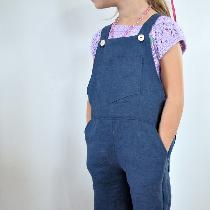 Classic children's overalls, made with IL019 Cobalt Softened. Bib pocket, front pockets, and bac...