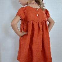 Timeless empire waist girls dress made with IL019 Mecca Orange Softened. Reversible, loose fitti...