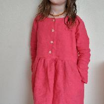 Classic fit girls dress, made with IL019 Honeysuckle Softened. Reversible, buttons can be worn i...