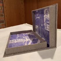 Case bound book box. I used light weight grey linen to make book cloth and used the book cloth f...