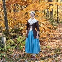 1750's Ensemble. Jacket, Stomacher, Petticoat, and Kerchief are100% hand stitched and took over...