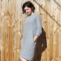 "Linen shift dress based on Peter Pan Collar dress pattern on ""The Thread"".  Modified b..."