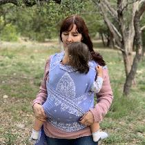Apparel: Self-drafted Meh Dai half-buckle baby carrier made of your lovely DB IL019 Wisteria lin...
