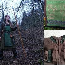 My norse SCA fancy garb, inspired by 9th-10th century Scandinavian grave finds. Close-ups of the...