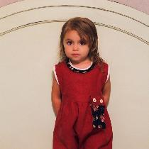 Romper in Deep Claret with contrasting linen binding, neck ruffle and detachable pocket.  Other...