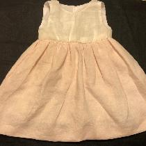 Baby girl dress made with DB IL019 Soft Pink softened linen for the skirt and DBIL020 Linen Blea...