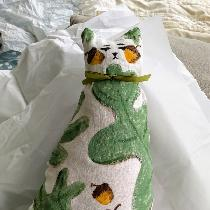 This pretty kitty is made from 4C22 Bleached Heavy 100% linen. Hand painted with artists' acryli...