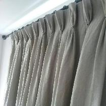 Vicky, Washed linen pinch pleat drapes.