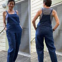 Summer overalls, softened 5.3oz, insignia blue. My own design and pattern.