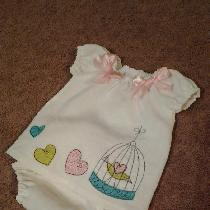 Bleached Linen Baby Dress with matching diaper cover and appliqué trim and satin bows.