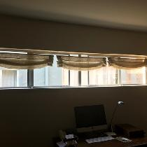 """Cursed window size (2x10ft!) and husband asked for Roman blinds. Sheer, for light and air;..."