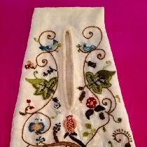 This is a 17th century ladies pocket. I created the design and used wool threads to embroider a...