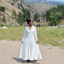 I made my reception dress out of heavy weight linen (4C22). It took 5 yards! But the result is s...