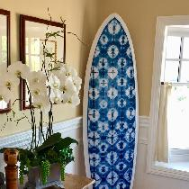 This surfboard was made with the lightweight linen using shibori natural dye.  I (the mom) dyed...