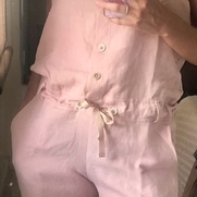 Jumpsuit using bleached linen which I eco-dyed with avocado skins.  Added bone buttons to the bo...