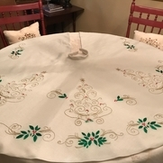 Hand embroidered Christmas tree skirt Love doing my own design antique color linen