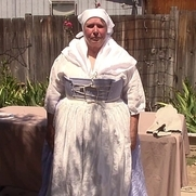 1750 style outfit, from the skin out, 100% linen fabric. Almost entirely hand-sewn. Consists of...