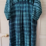 Hand drafted pattern linen dress from 4C22. The fabric was pre dyed with the lighter turquoise c...