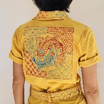 Traditional Chinese royal colors on modern workwear. Koi fish, in a legend, swim upstream in Yel...
