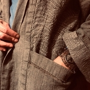 Linen jacket and pants with hand stitched sashiko and drawn work.  Inspired by the wave nature o...