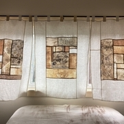 Pojagi style curtains made from natural-dyed bleached linen (avocado, walnut, acorn, marigold) w...