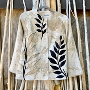 Jacket made of linen printed with Thimbleberry leaves. Applications made of same dyed/printed fa...