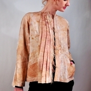 Jacket made of linen dyed/printed with Japanese Knotweed leaves. This plant is beautiful but ver...