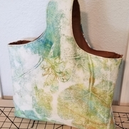 Linen is the perfect surface on which to gel plate print. I took leaves from my own garden and m...