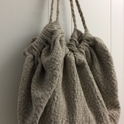 Large Tote, IL002 Tetra, washed, dried to bring out the beautiful texture. Handle braided linen...