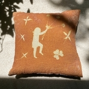 This 100% linen pillow is hand dyed with a sun activated dye Solarfast. The back of the pillow i...