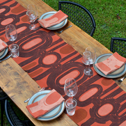 This Bold Earth linen table runner is treated with tannin and alum, hand printed with mordants,...