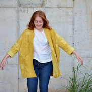 This hand-drafted jacket pattern was sewn with naturally dyed fabric. The linen started out whit...