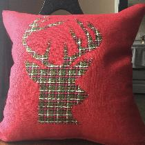 Crimson Heavy-weight with homespun plaid appliqué.