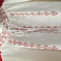 Counted thread blackwork Elizabethan lady's smock.  Embroidered with silk floss.