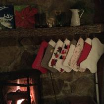 Eight Christmas stockings all made with your linen fabrics with this grandmothers stash with fou...