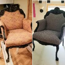 Before and after chair reupholstery project.