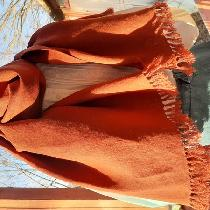 A pashmina-style scarf made from 2 yards, cut lengthwise, with ponytail fringe. So soft and love...