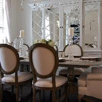 Dinning room finished with 100% white linen fabric.